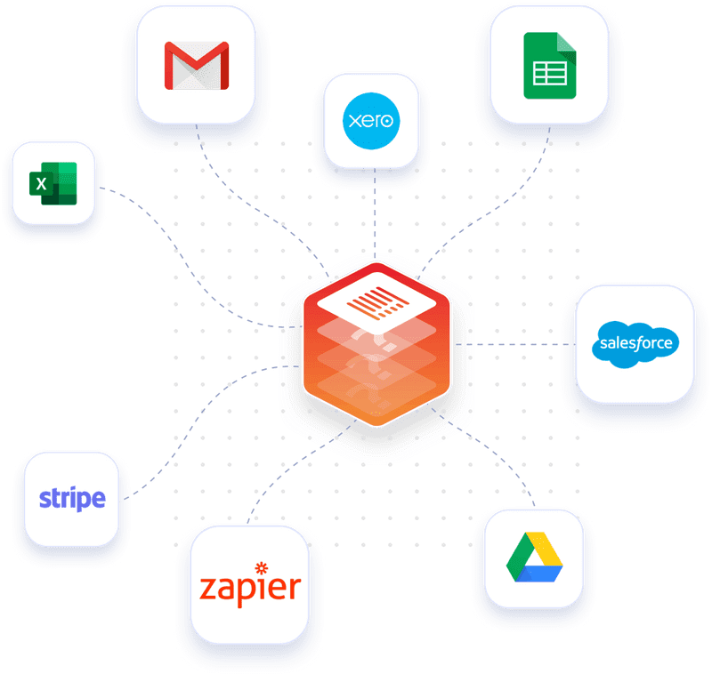 Connect Monstock to many software applications (Excel, Gmail, Xero, Google Sheets, Salesforce, Google Drive, Zapier, Stripe, and many others).